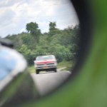 GTO Red in rearview mirror pontiac
